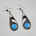 Tear Drop Sterling Silver Manmade Opal Wave Earring
