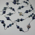 Shades of Blue Silk Swarovski Crystal Necklace