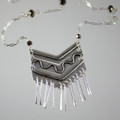 Chevron with Fringe & Swarovski Crystal Long Necklace