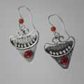Carnelian Triangular Textured Sterling Silver Earrings