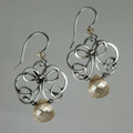 Fine Silver Swirls & Swarovski Briolette Earrings