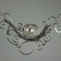 Sculptured Fine Silver & Swarovski Cream Crystal Pearl Necklace