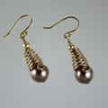 Gold Filled Spiral Swarovski Crystal Pearl Earrings