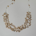 Fresh Water Keshi Champagne Gold Sterling Silver Necklace