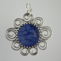 Sodalite Sterling Silver Scroll Pendant