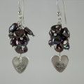 Keshi Pearl Clusters and Sterling Silver Stamped Heart Earrings
