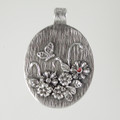 Fine Silver Metal Clay Flower & Butterfly Pendant