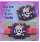 In The Hoop Ribbon Slider Bracelet Skull With Bow Embroidery Machine Design