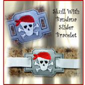 In The Hoop Ribbon Slider Bracelet Skull With Bandana Embroidery Machine Design