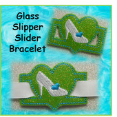 IN The Hoop Ribbon Slider Bracelet Heart With Glass Slipper/Shoe Embroidery Machine Design