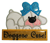 Doggone Cute Puppy Applique Embroidery Machine Desing