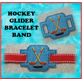 In The Hoop Ribbon Slide Bracelet Hockey Sticks and Puck Embroidery Machine Design