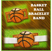 In The Hoop Ribbon Slider Bracelet Basketball Embroidery Machine Design
