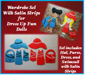 In The Hoop Dress Up Fun Doll Wardrobe with Satin Strips Embroidery Machine Design Set