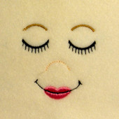 Embroidered Sleeping Doll Face with Full Lip Embroidery Machine Design