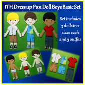 In The Hoop Felt Dress Up Fun Basic Boy Embroidery Machine Design Set