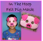 In The Hoop Felt Pig Mask Design For Embroidery Machine