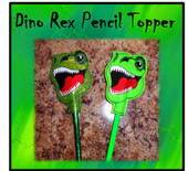 In The Hoop Dino Rex Pencil Topper Embroidery Machine Design