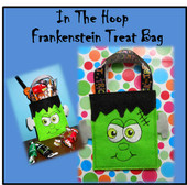 In The Hoop Frenkenstein Treat Bag Embroidery Machine Design