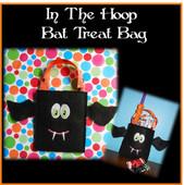 In the Hoop Bat Halloween Treat Bag Embroidery Machine Design