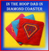 In The Hoop Coaster DAD with Diamond Embroidery Machine Design