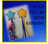 In The Hoop Star Feltie With Ribbon Embroidery Machine Design