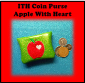 In The Hoop Coin Purse Apple with Heart Embroidery Machine Design