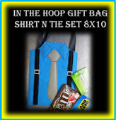 In The Hoop Suit n Tie Gift Bag 8x10 Embroidery Machine Design