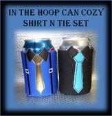 In The Hoop Suit n Tie Can Cozy Embroider Machine Design Set