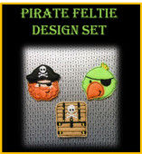 In The Hoop Pirate Feltie Design Set for Embroidery Machines