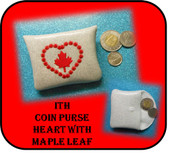 In The Hoop Coin Purse Heart with Maple Leaf Embroidery Machine Design