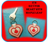In The Hoop Key Fob Heart With Maple Leaf Embroidery Machine Design
