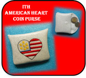 In The Hoop American Heart Coin Purse Embroidery Machine Design