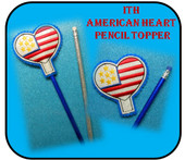 In The Hoop American Heart Pencil Topper Embroidery Machine Design