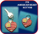 In The Hoop American Heart Key Fob Emboridery Machine Design