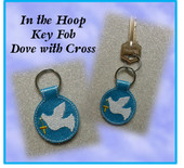 In The Hoop Key Fob Dove with Cross Embroidery Machine Design