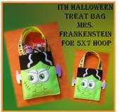 In the hoop Halloween Treat Bag Mrs. Frankenstein Embroidery Machine Design for 5x7 Hoop