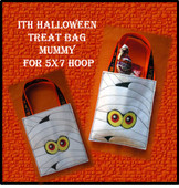 In The Hoop Halloween Treat Bag Mummy Embroidery Machine Design for 5x7 Hoop