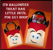 In The Hoop Halloween Treat Bag Little Devil Embroidery Machine Design for 5x7 Hoop
