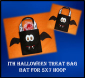 In The Hoop Haloween Treat Bag Bat Embroidery Mahine Design for 5x7 Hoop