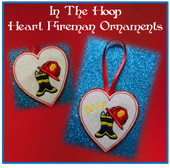 In The Hoop Heart Fireman Ornament Embriodery Machine Design Set