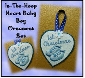 In The Hoop Heart Baby Boy Ornament Embroidery Machine Design Set