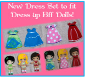 In the Hoop New Dress Set for BFF Dolls Embroidery Machine Designs