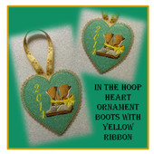 In The Hoop Heart Boots with Yellow Ribbon Ornament Embroidery Machine Design