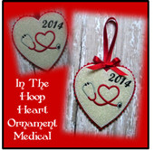 In The Hoop Heart Medical Ornament Embroidery Machine Design