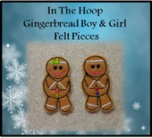 In the Hoop Gingerbread Boy and Girl Felt PIece Embroidery Machine Designs