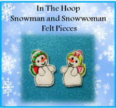 In The Hoop Snowman And Snowwoman Felt Piece Embroidery Machine Designs