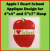I Heart School Apple Applique Design