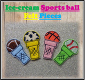 In The Hoop Icecream Sports Ball Felt Piece Embroidery Machine Design Set
