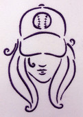 Baseball Girl Silhouette2 Embroidery Machine Design